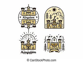 royaume, château, collection, couleur, brun, ensemble