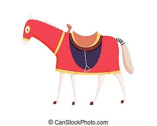 royaume, cheval, caractère, historique, période, chevalier, milieu, vecteur, illustrations., moyen-âge, âges