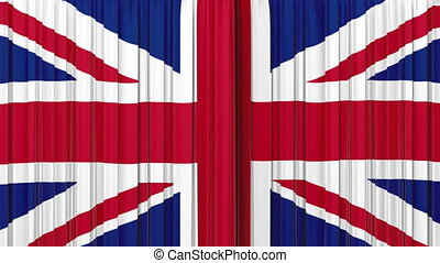 royaume, rideau, drapeau, uni, ouverture