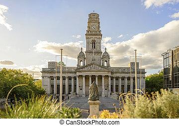 royaume, uni, hôtel ville, portsmouth, historique