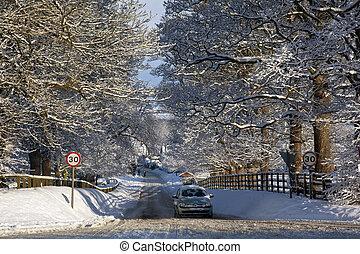 royaume, uni, -, hiver, yorkshire