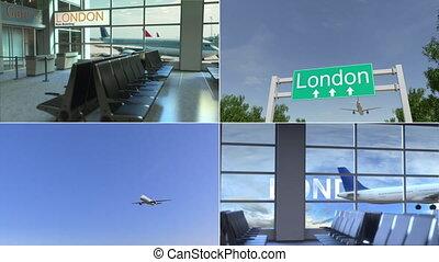 royaume, uni, montage, voyage, arrive, conceptuel, avion, animation, london.