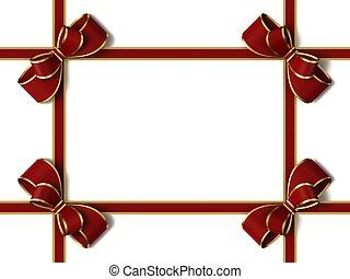 ruban, bow., cadeau, rouges