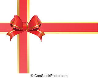 ruban, cadeau, rouges