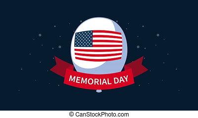 ruban, heureux, jour, drapeau, commémoratif, lettrage, usa