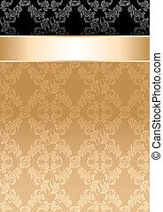 ruban, or, modèle, seamless, fond, floral
