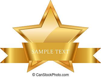 ruban, or, récompense, brillant, étoile