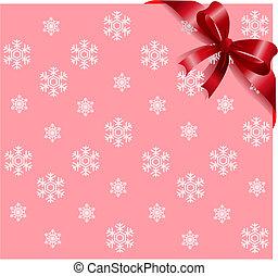 ruban rose, fond, flocons neige, rouges