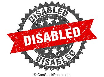 ruban, signe, stamp., handicapé, grunge, rond