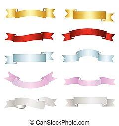 ruban, vecteur, coloré, éléments, ensemble, conception