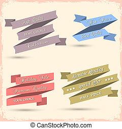 rubans, ensemble, vecteur, conception, vendange