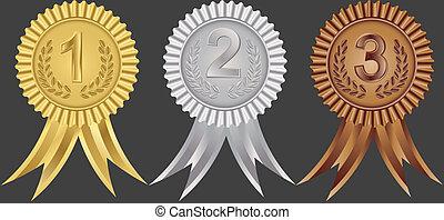 rubans, seconde, premier, récompense