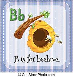 ruche, b, lettre, flashcard