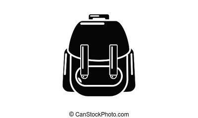 rucksack, animation, icône
