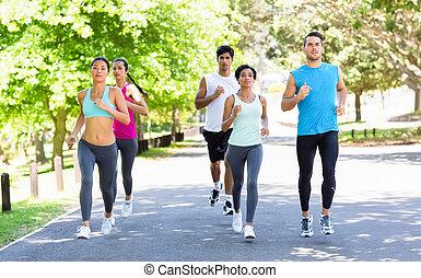 rue, athlètes, courant, marathon