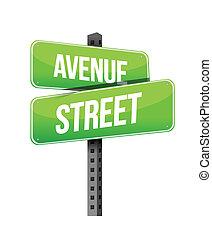 rue, avenue, panneaux signalisations