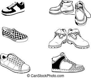 rue, chaussures, hommes