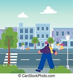 rue, chien marche, promenade, smartphone, gens, urbain