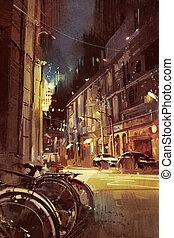 rue, coloré, lumière ville