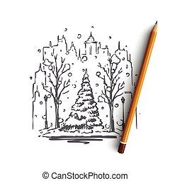 rue, concept., neige, isolé, vector., arbre, ville, hiver, main, dessiné
