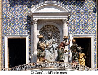 rue, dell`orologio, italie, ange, piazza, venise, mark`s, san, torre, horloge, magi, procession, tour, marco, trois