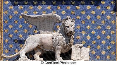 rue, dell`orologio, lion, italie, piazza, venise, mark`s, san, torre, horloge, ailé, tour, marco, statue