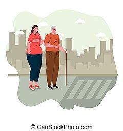 rue, femme, charité, social, volontaire, croix, portion, soin, donation, concept, vieil homme