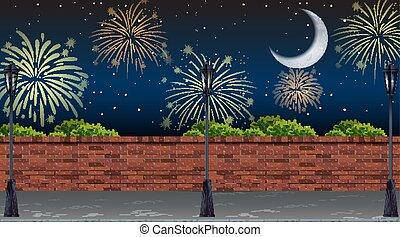 rue, feux artifice, célébration, vue, scène