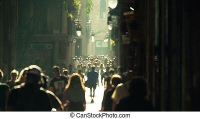 rue, foule, slowmotion