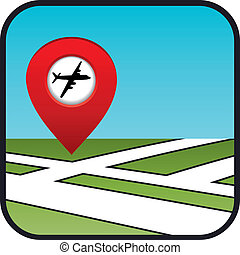rue, icône, indicateur, aéroport., carte