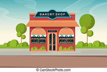 rue, illustration, boulangerie, nourriture, magasin, vitrine, façade, magasin, dessin animé