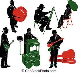 rue, interprètes, silhouette