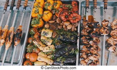 rue, légumes grillés, magasin, fenêtre., tribunal, repas, nourriture, viande