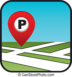 rue, parking., icône, indicateur, carte