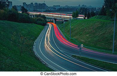 rue, soir, long, pistes lumière, exposition