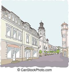 rue, vecteur, vieux, illustration., town.