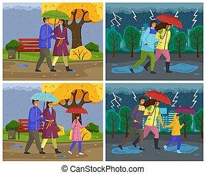 rue ville, automne, marche, famille, parapluie, saison, bas, porter, pluie, imperméables
