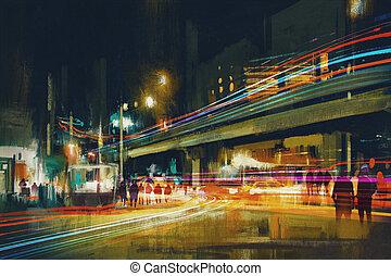 rue ville, lumière nuit