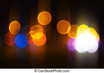 rue ville, lumière urbaine, bokeh, fond, trafic, nuit