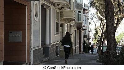 rue, ville, marche, femme
