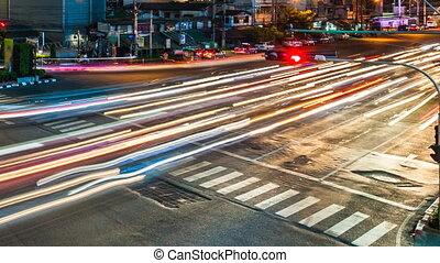 rue ville, trafic, nuit