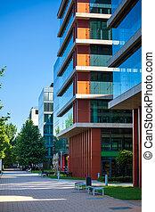 ruelle, bâtiments, moderne, budapest, bureau
