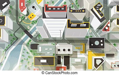 rues, beau, aérien, gratte-ciel, moderne, sommet, plan., style., architecture, ville, paysage, oeil, oiseau, urbain, bâtiments, coloré, illustration, dessin animé, s, vecteur, rivière, bridge., ou, vue