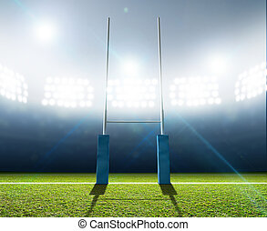 rugby, poteaux, stade
