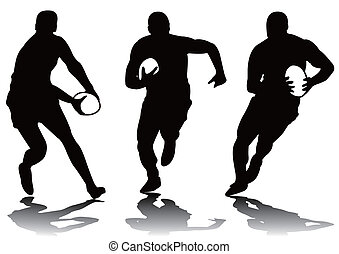 rugby, silhouette, trois