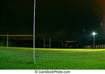 rugby, stade, nuit