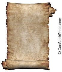 rugueux, manuscrit, rouleau, parchemin