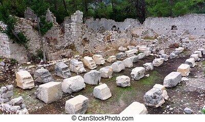 ruines, archéologique, bâtiment, site.
