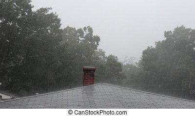 ruisseaux, douche, baisses pluie, été, eau, lourd, ville