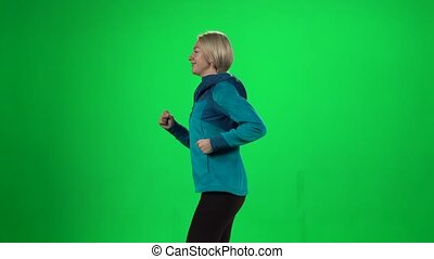running., écran, femme, vert, jeune